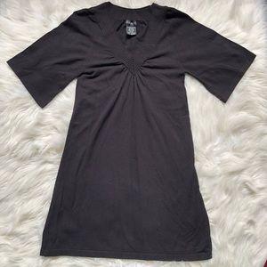 George V Neck Black Sweater Dress